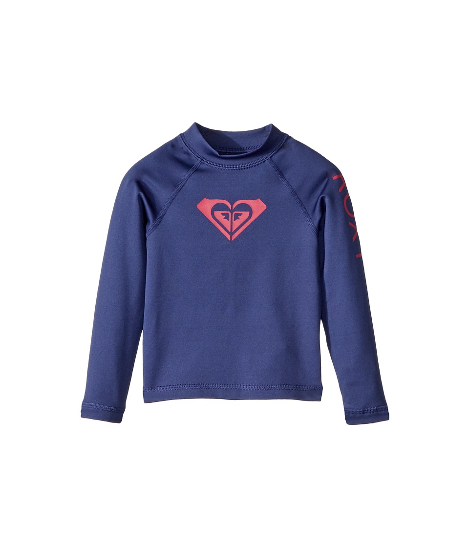 Roxy Kids - Whole Hearted Long Sleeve Rashguard (Toddler/Little Kids/Big Kids) (Deep Cobalt) Girls Swimwear