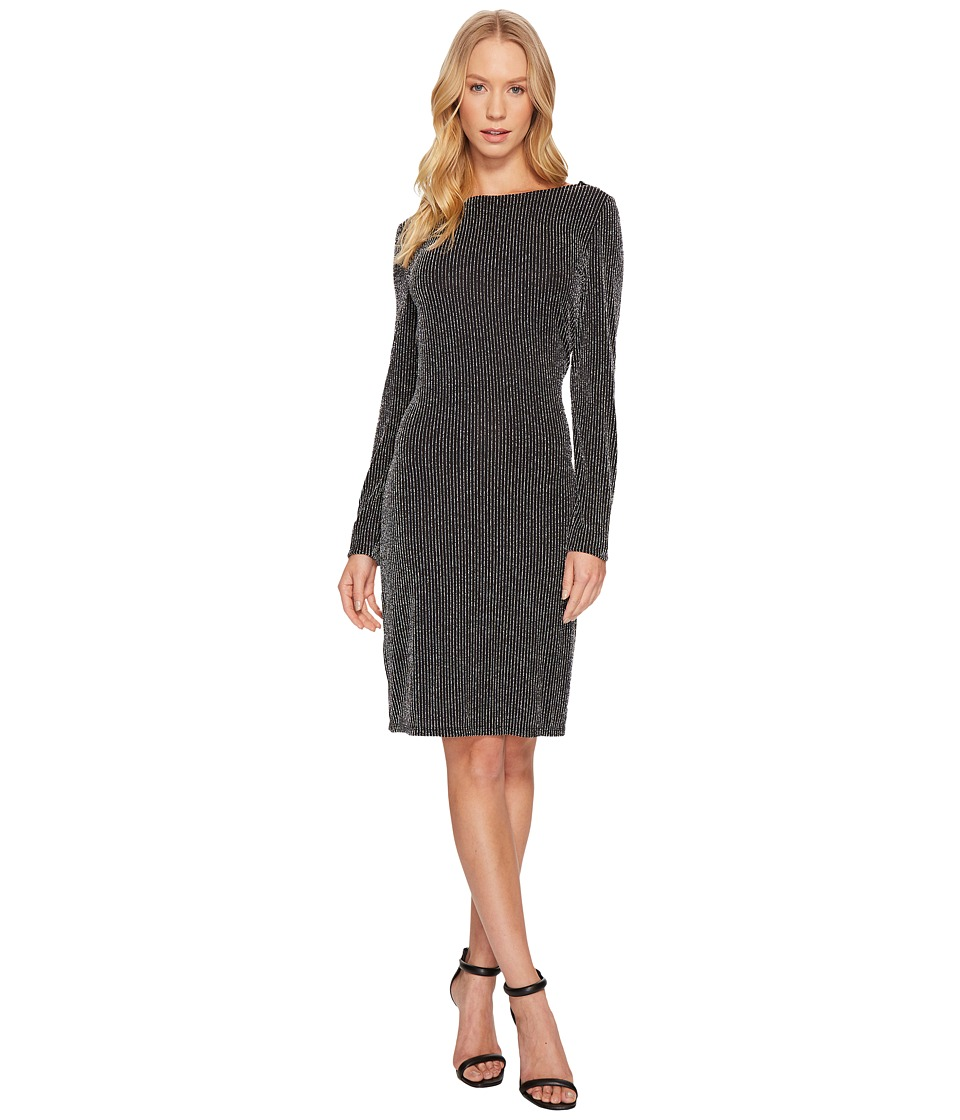 MICHAEL Michael Kors Long Sleeve Cowl Back Dress (Black/Silver) Women