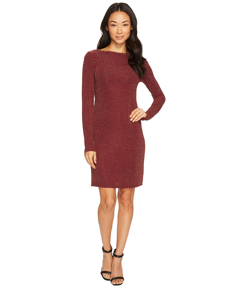 MICHAEL Michael Kors Metal Dot Long Sleeve Boat Neck Dress (Merlot/Gold) Women