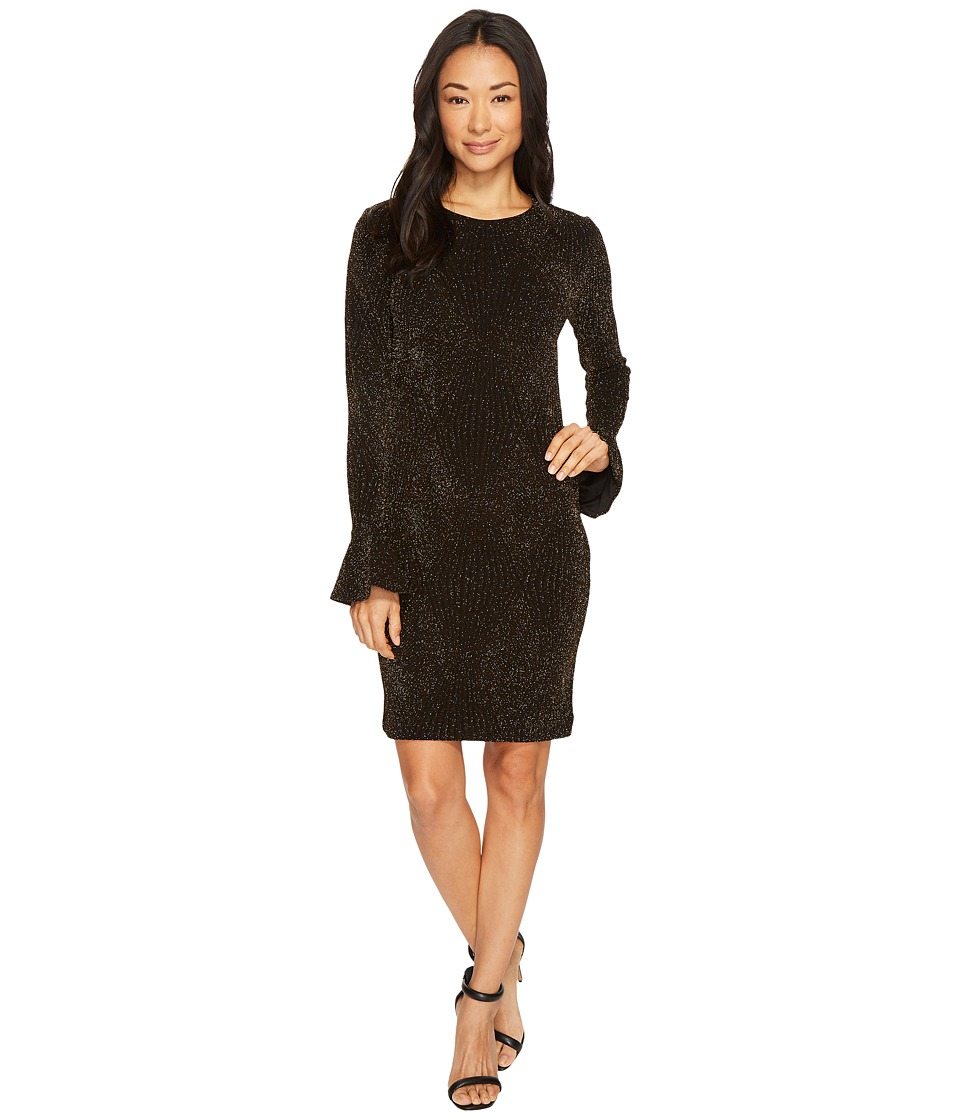 MICHAEL Michael Kors Bodycon Flounce Sleeve Dress (Black/Gold) Women