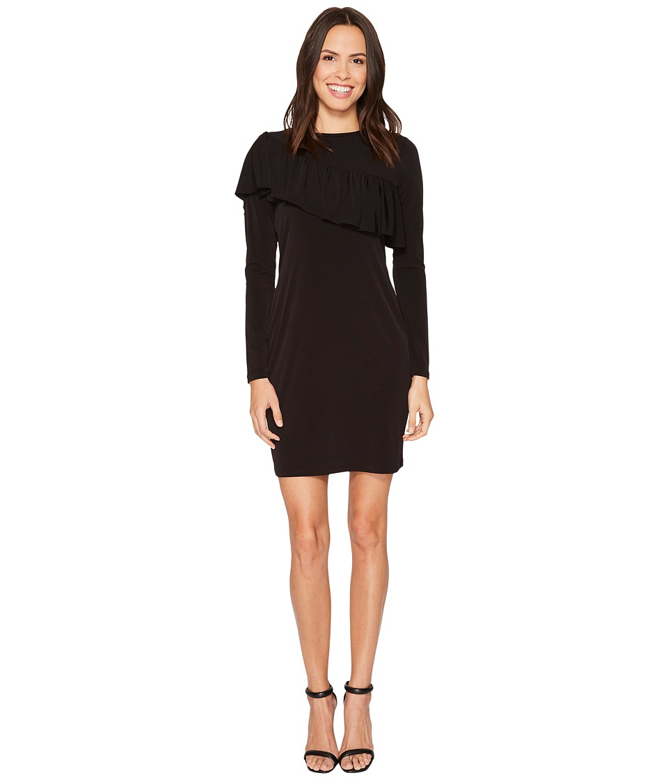 MICHAEL Michael Kors Asymmetrical Ruffle Long Sleeve Tee Dress (Black) Women