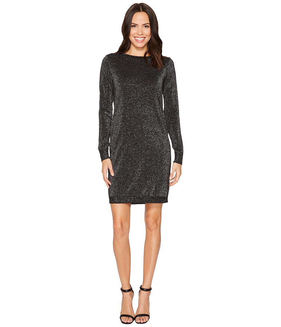 MICHAEL Michael Kors Lurex Crew Neck Sweater Dress (Black/Silver) Women