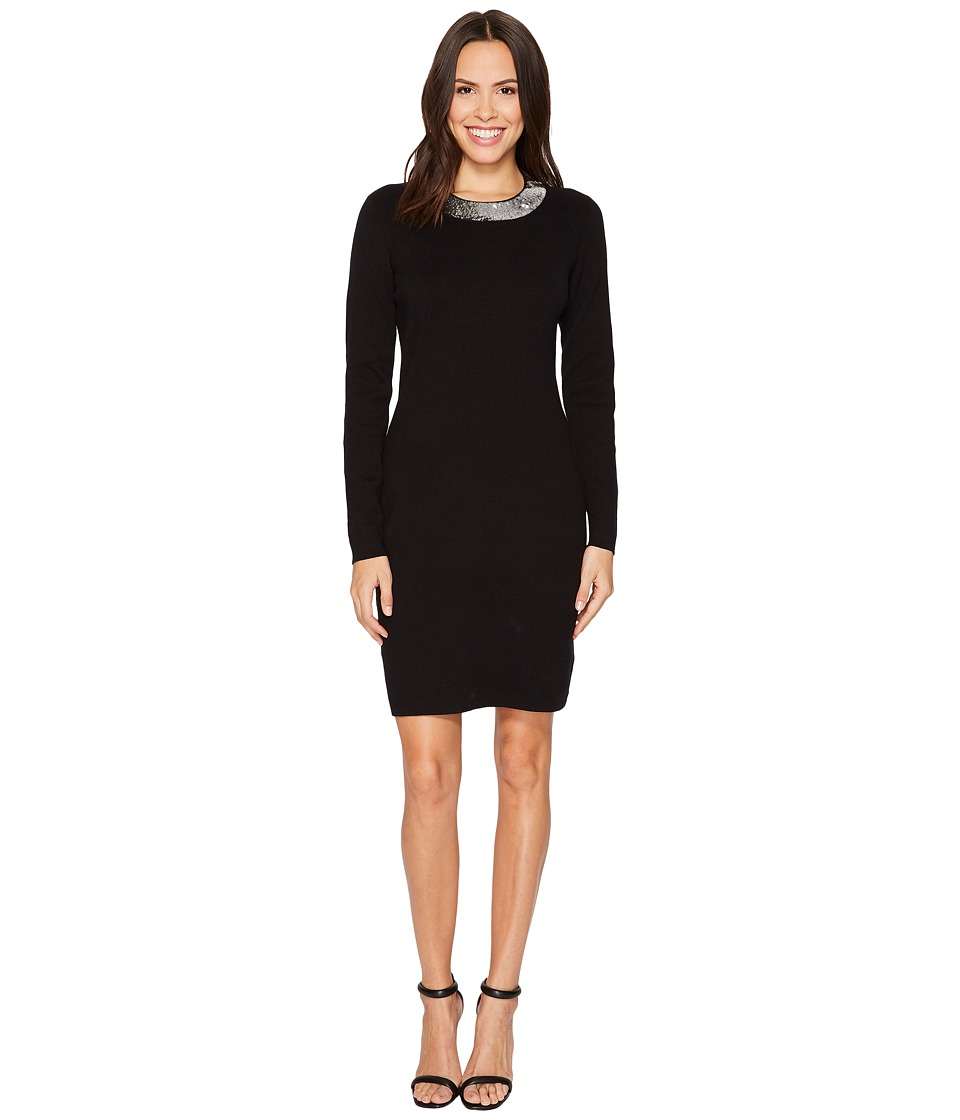 MICHAEL Michael Kors Sequin Collar Dress (Black/Silver) Women