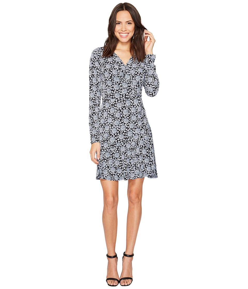 MICHAEL Michael Kors Long Sleeve Wrap Flounce Dress (Cloud/Black) Women