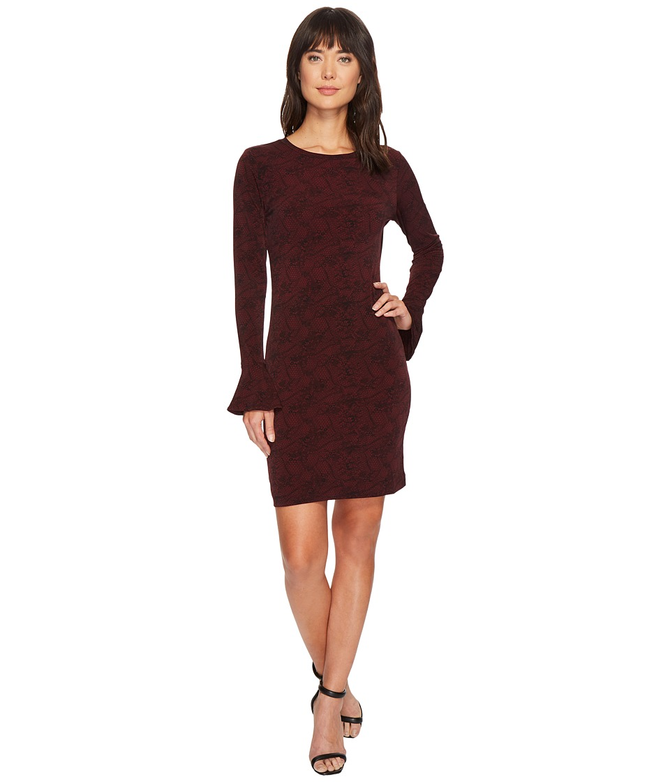 MICHAEL Michael Kors Floral Mesh Flounce Dress (Merlot/Black) Women