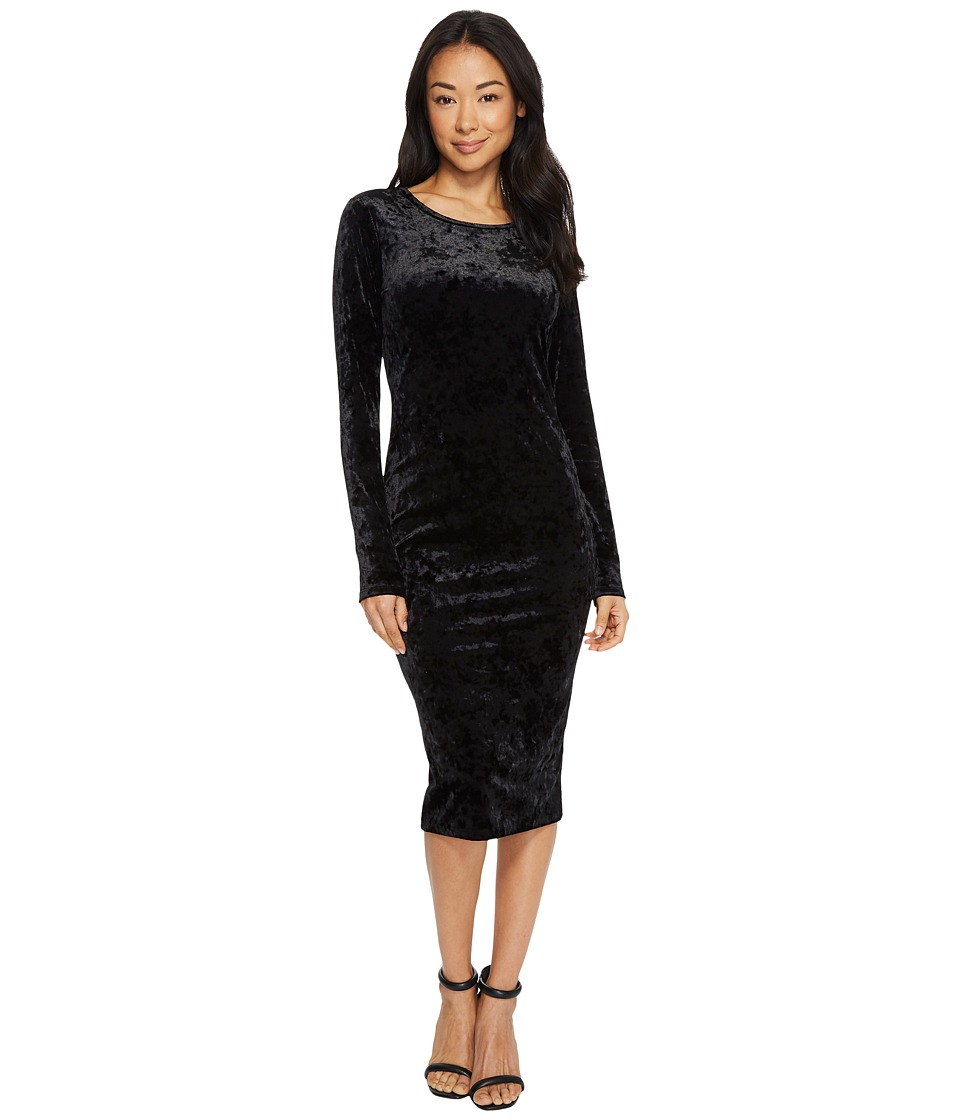 MICHAEL Michael Kors Panne Velvet Crew Neck Long Sleeve Dress (Black) Women