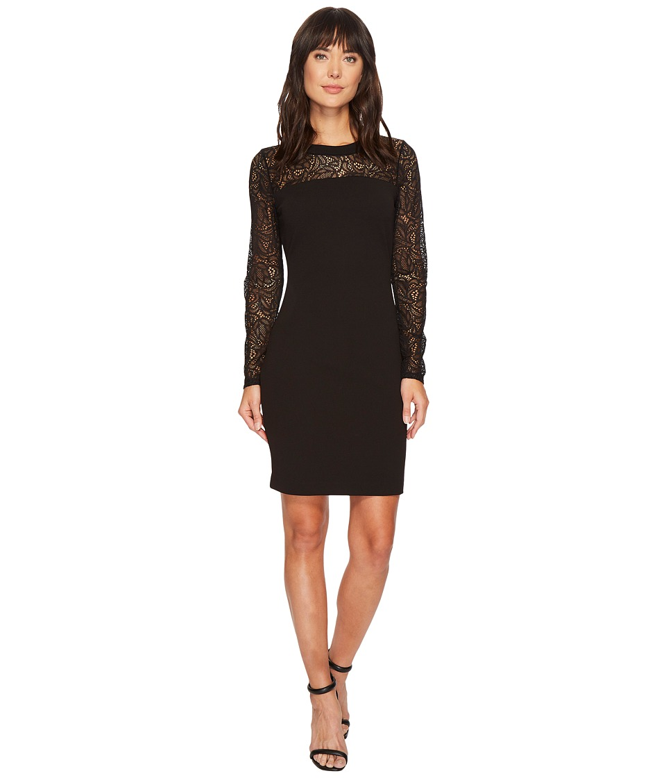 MICHAEL Michael Kors Lace Combo Long Sleeve Dress (Black) Women
