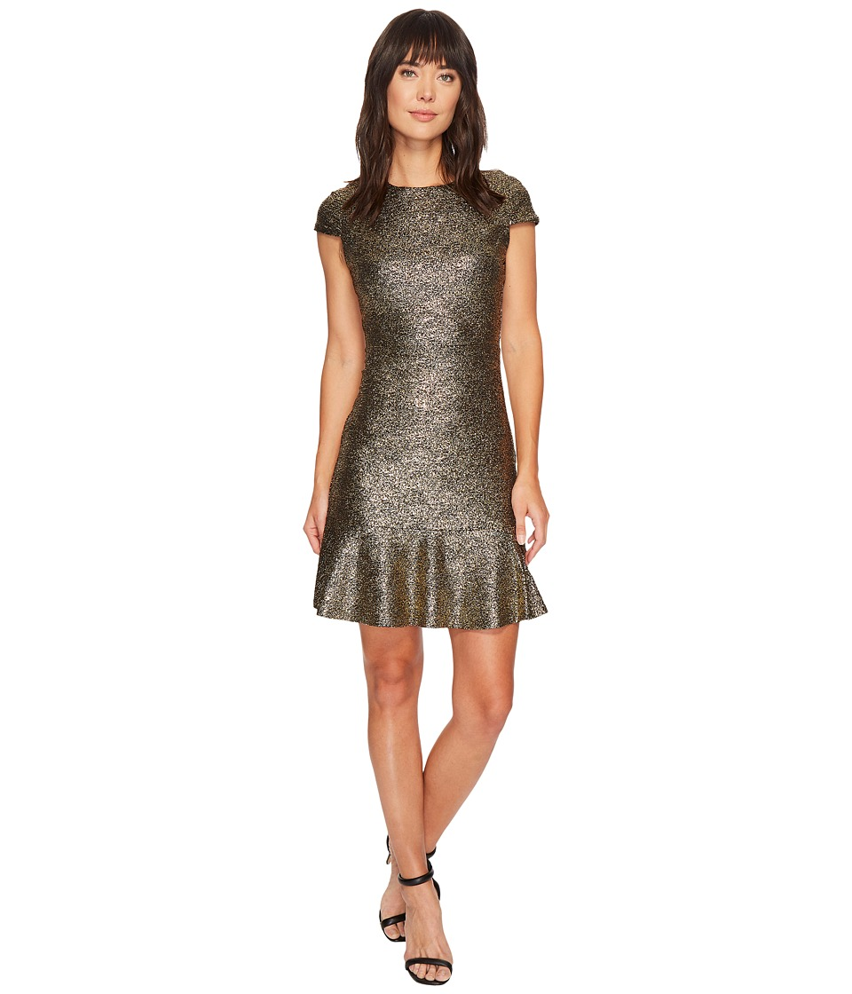 MICHAEL Michael Kors Foil Knit Short Sleeve Flounce Dress (Black/Gold) Women