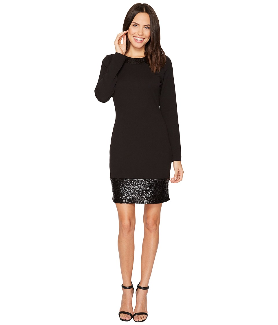 MICHAEL Michael Kors Sequin Combo Long Sleeve Dress (Black) Women
