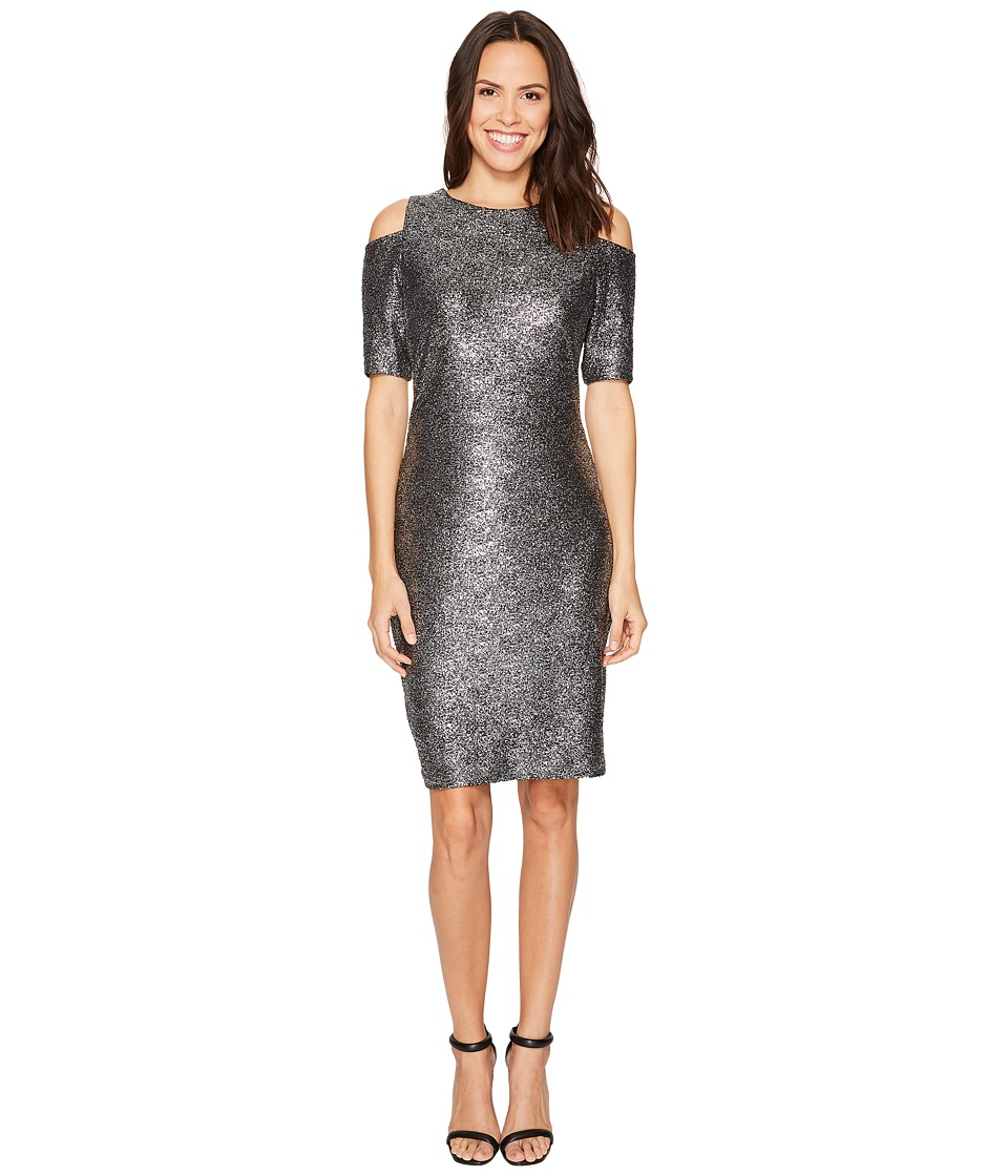 MICHAEL Michael Kors Foil Cold Shoulder Dress (Black/Silver) Women