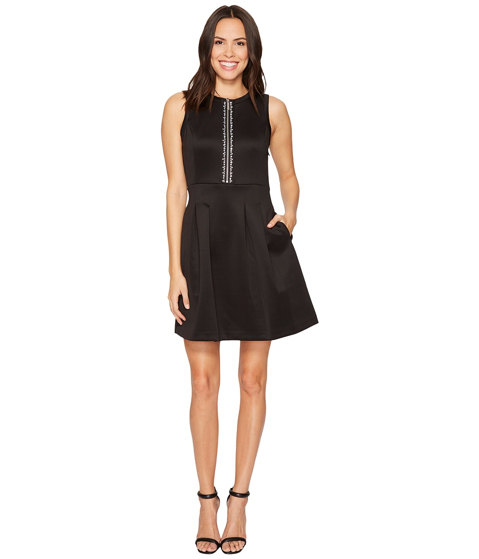 MICHAEL Michael Kors Rhinestone Zip Flutter Dress (Black) Women