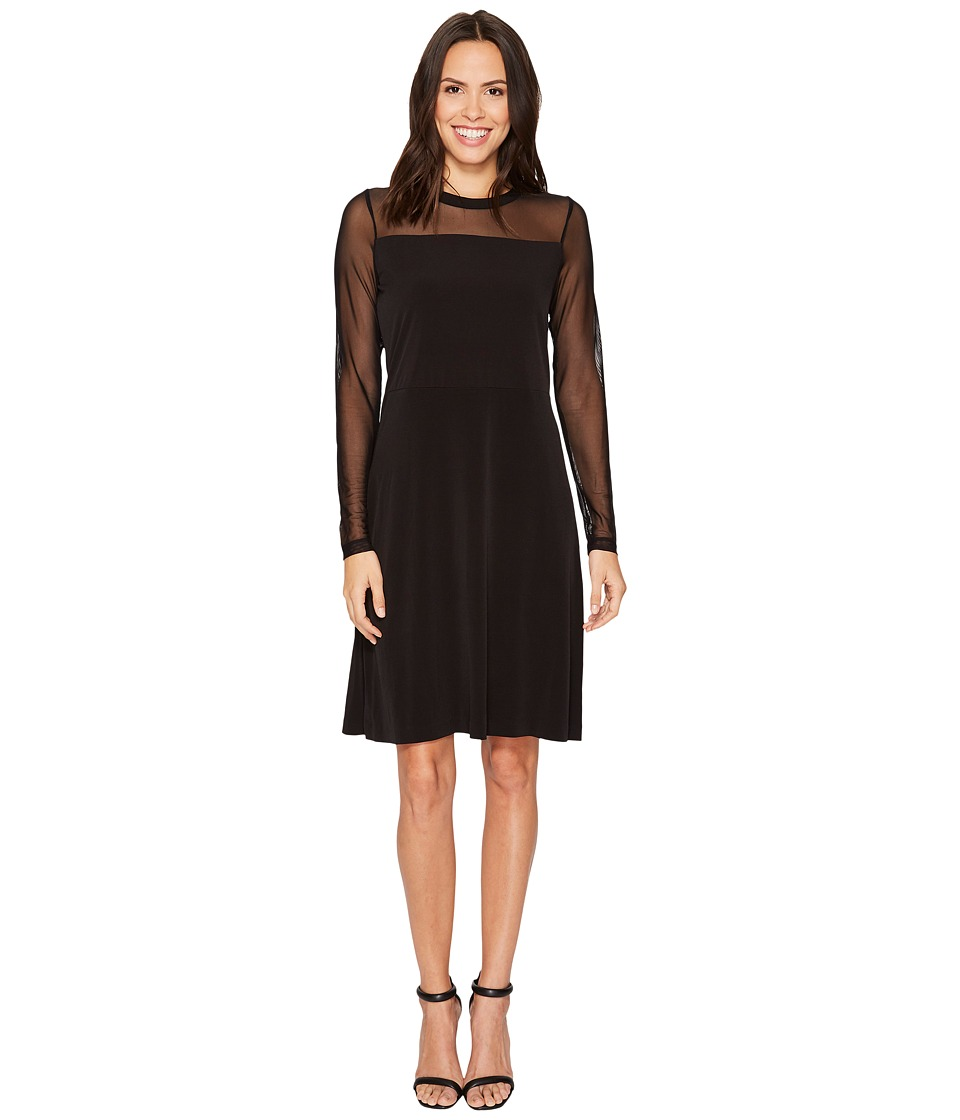 MICHAEL Michael Kors Mesh Mix Flutter Long Sleeve Dress (Black) Women