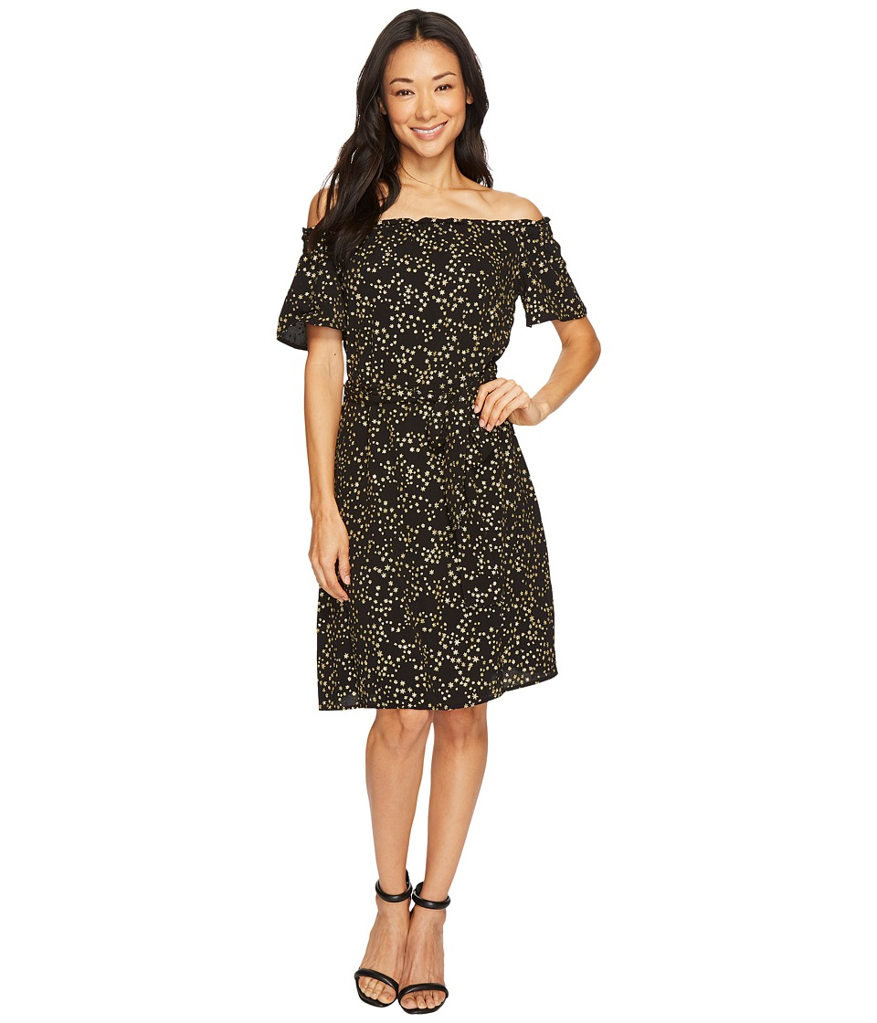 MICHAEL Michael Kors Shooting Star Off Shoulder Dress (Black/Gold) Women