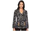 MICHAEL Michael Kors Abstract Palm Long Sleeve Tie Top