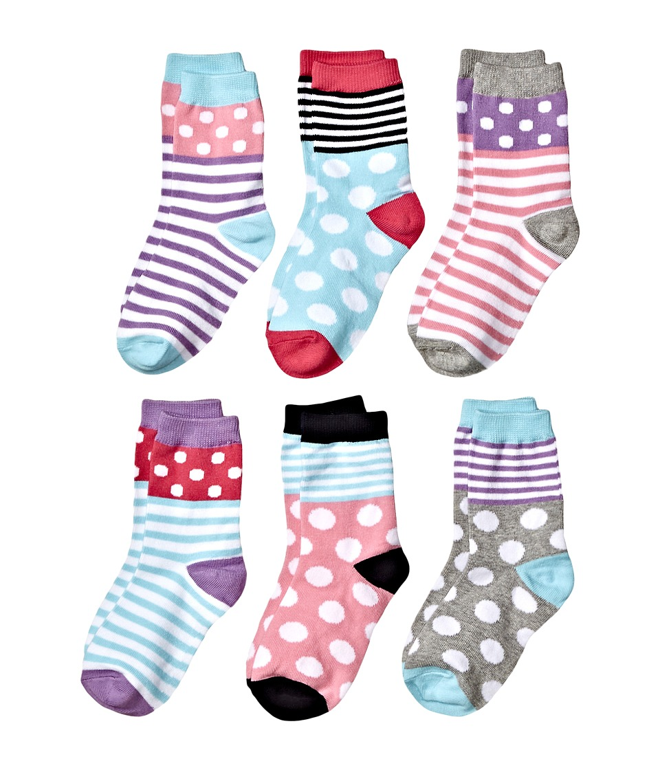 Jefferies Socks - Dots and Stripes Crew 6-Pack (Toddler/Little Kid/Big Kid) (Multi) Girls Shoes