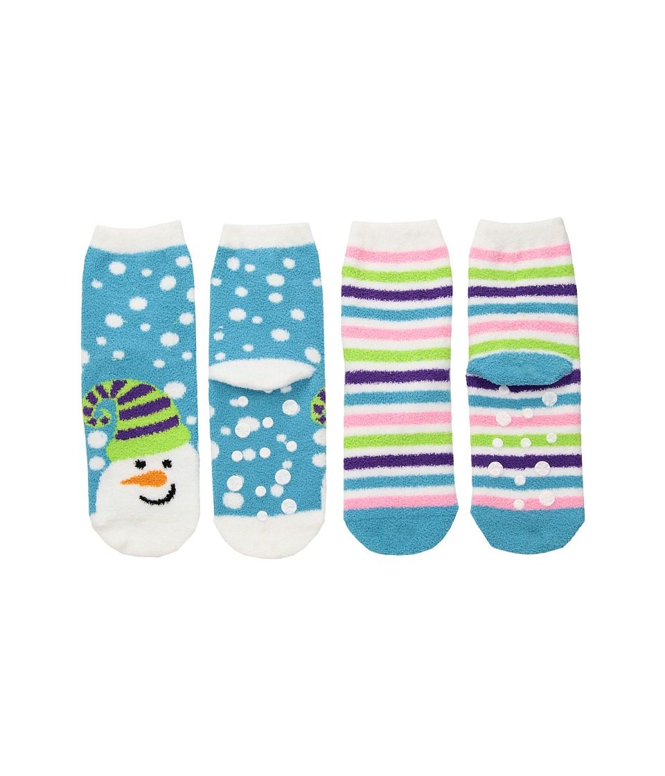 Jefferies Socks - Snowman Fuzzy Slipper Socks 2-Pack (Toddler/Little Kid/Big Kid) (Multi) Girls Shoes