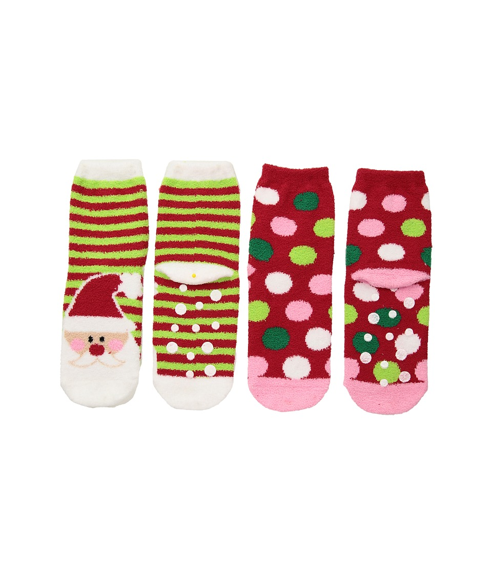 Jefferies Socks - Santa Fuzzy Slipper Socks 2-Pack (Toddler/Little Kid/Big Kid) (Multi) Girls Shoes