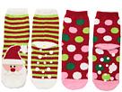 Jefferies Socks Santa Fuzzy Slipper Socks 2-Pack (Toddler/Little Kid/Big Kid)