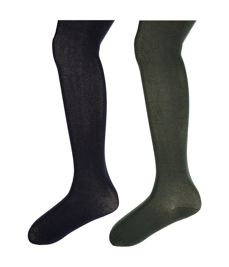 Jefferies Socks - Seamless Organic Cotton Tights 2-Pack (Infant/Toddler/Little Kid/Big Kid) (Hunter/Navy) Hose