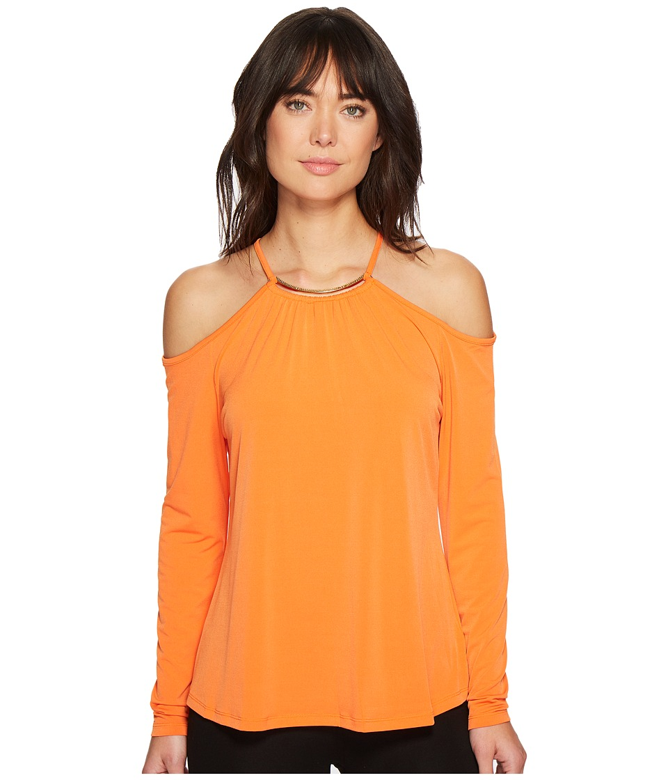 MICHAEL Michael Kors - Neck Plate Cold Shoulder Top (Poppy) Womens Clothing