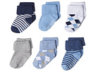 Jefferies Socks Non-Skid Argyle and Stripe Turn Cuff 6-Pack (Infant/Toddler)