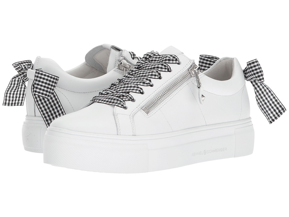Kennel & Schmenger - Big Gingham Lace Sneaker (White/Black Gingham) Womens Lace up casual Shoes
