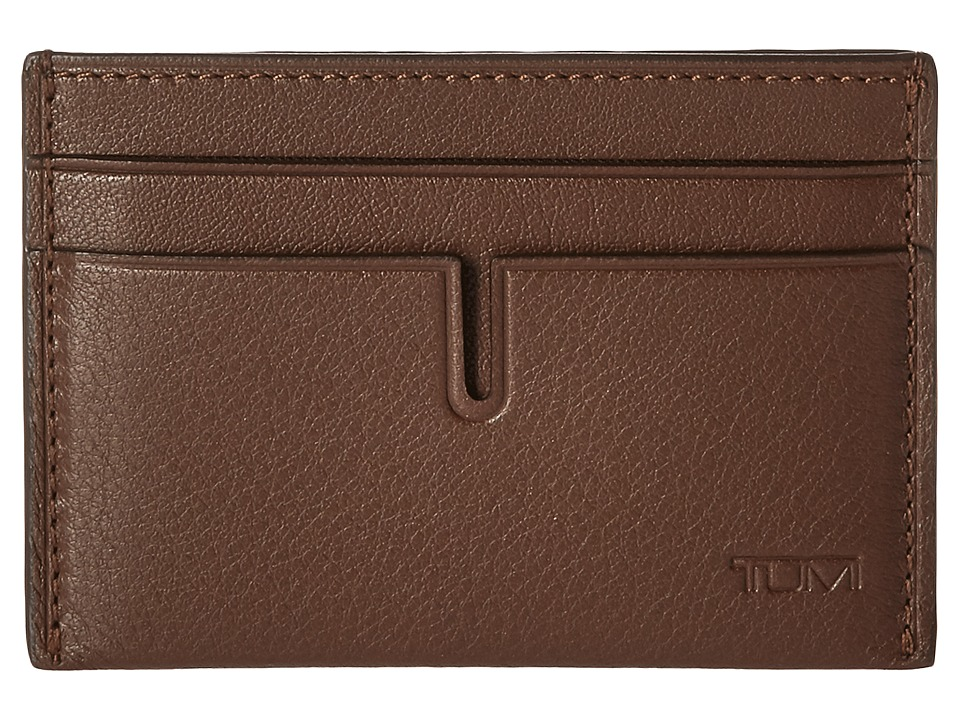 Tumi - Nassau Money Clip Card Case (Brown Textured) Credit card Wallet