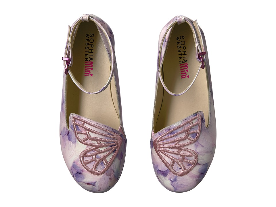 Sophia Webster - Bibi Butterfly Feather Print (Toddler/Little Kid) (Pink/White) Girls Shoes