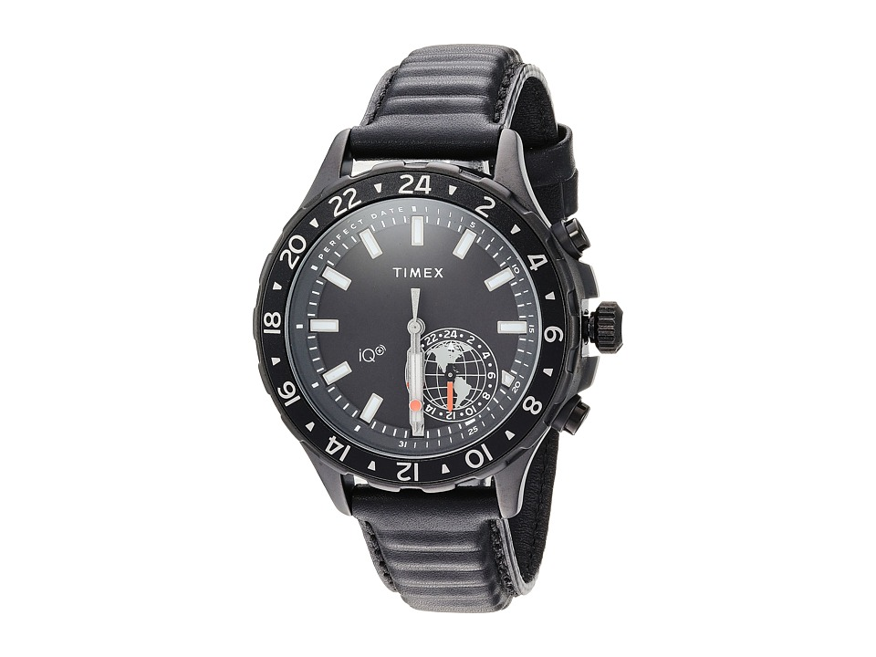 Timex IQ+ Move Multi Time Leather Strap (Black) Watches