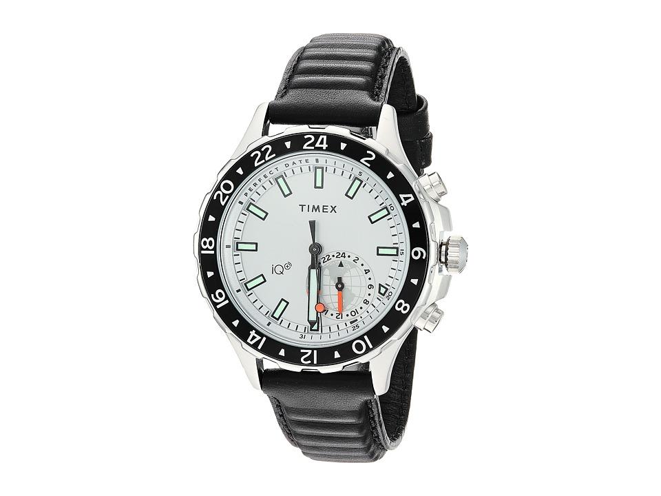 Timex IQ+ Move Multi Time Leather Strap (Black/White) Wat...