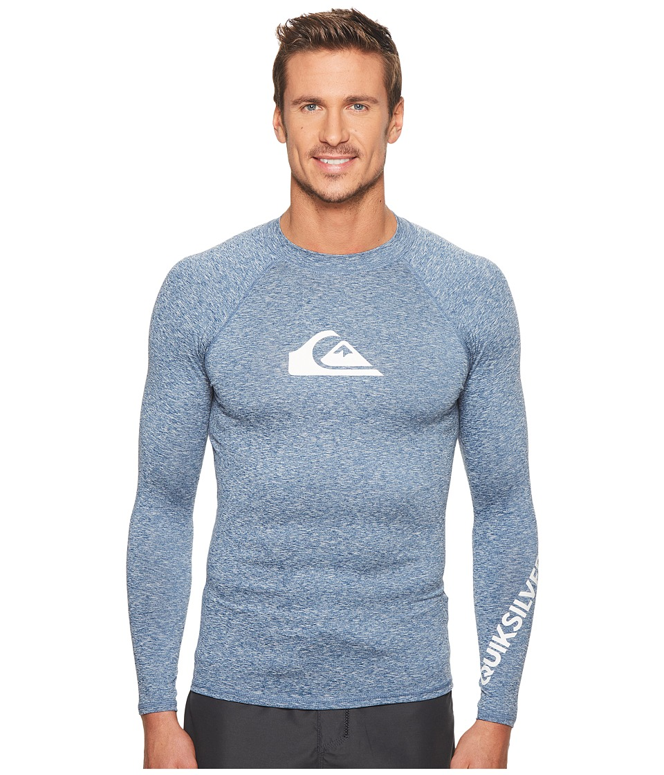 Quiksilver All Time Long Sleeve Rashguard (Dark Denim Heather) Men's Swimwear
