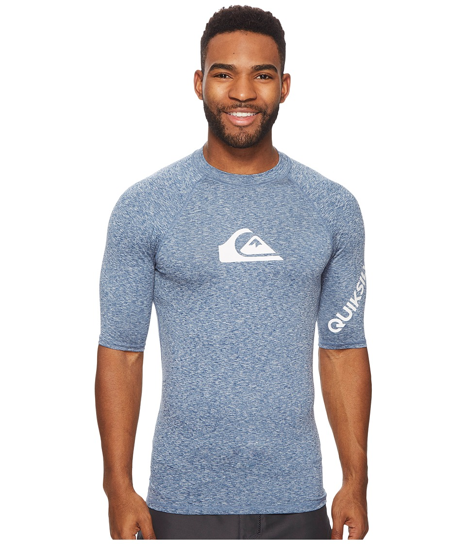 Quiksilver All Time Short Sleeve Rashguard (Dark Denim Heather) Men's Swimwear