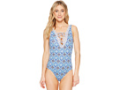 Tommy Bahama Tika Tiles Reversible Lace Front One-Piece Swimsuit