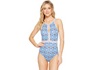 Tommy Bahama Tika Tiles High-Neck One-Piece Swimsuit