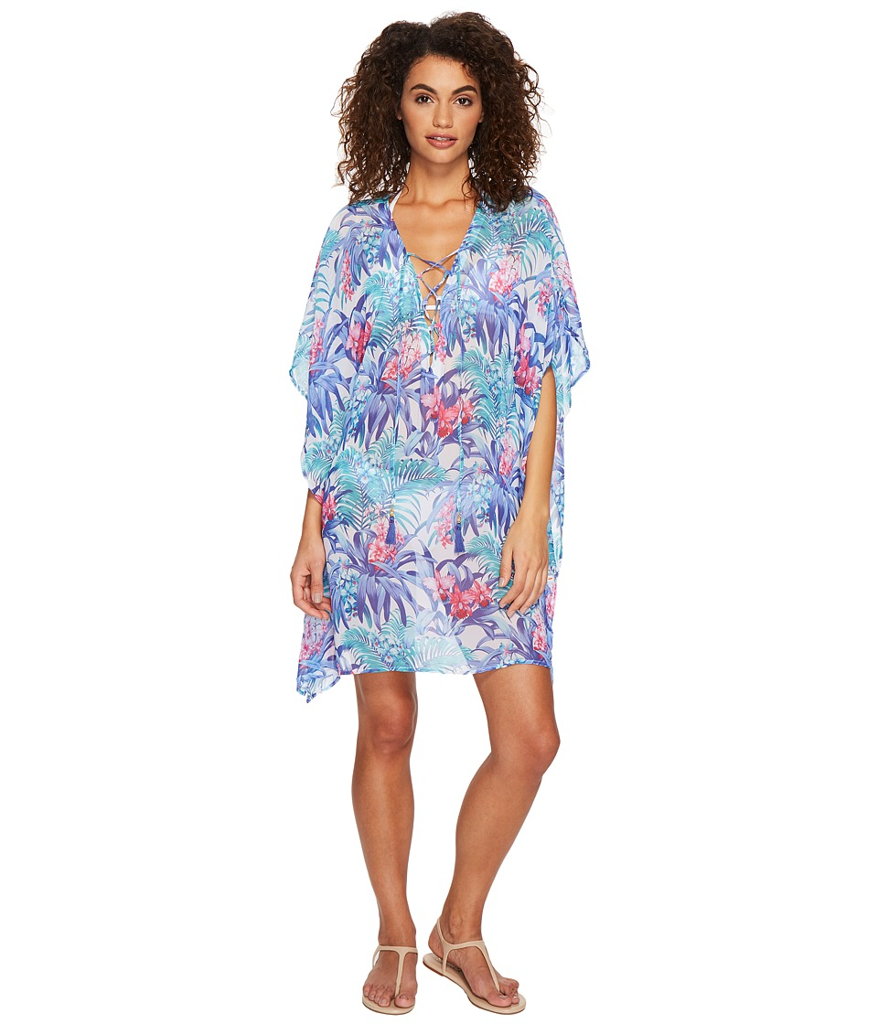 Tommy Bahama Majorelle Jardin Lace-Up Tunic Cover-Up (White)