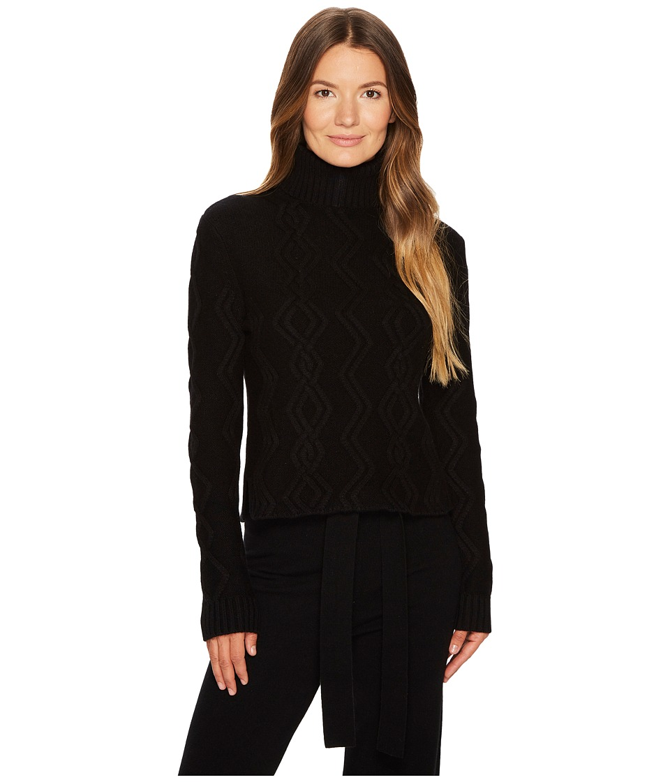 Cashmere In Love - Tess Cropped Cable Knit Pullover (Blac...