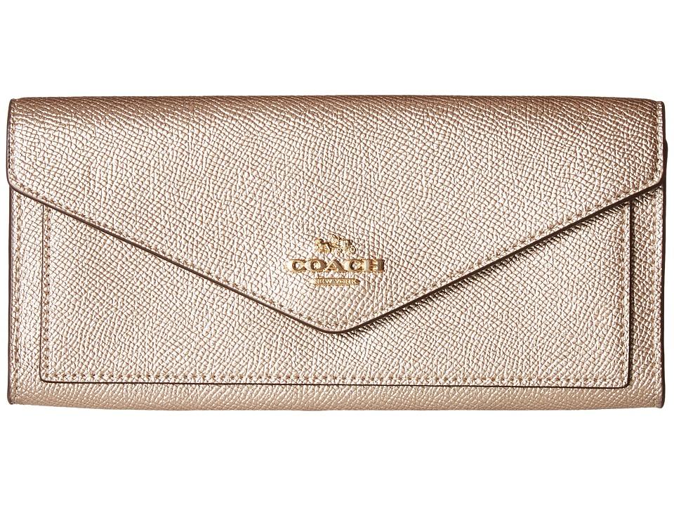 COACH - Soft Wallet in Metallic Leather (LI/Platinum) Wallet Handbags