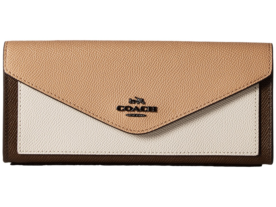 COACH - Soft Wallet in Color Block Leather (Dk/Fatigue Multi) Wallet Handbags