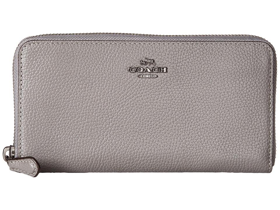 COACH - Accordion Zip Wallet in Polished Pebble Leather (Dk/Heather Grey) Wallet Handbags