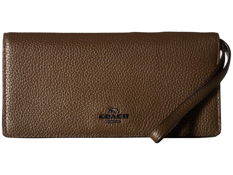 COACH - Slim Wallet in Color Block Leather (Dk/Fatigue Multi) Wallet Handbags