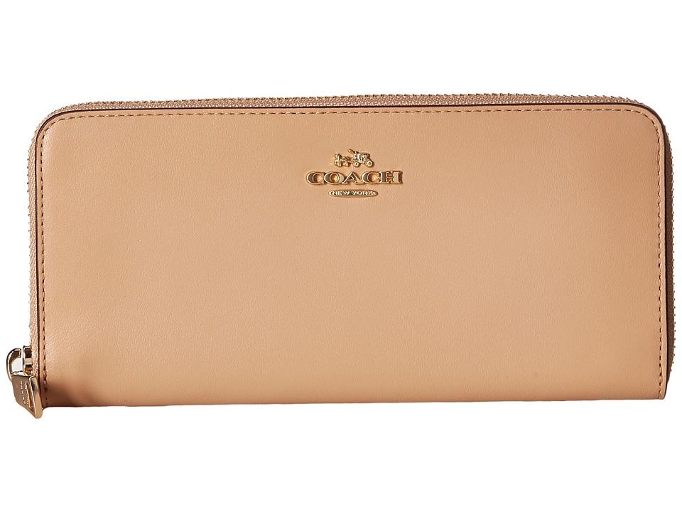 COACH - Slim Accordion Zip Wallet in Smooth Leather (LI/Beechwood) Wallet Handbags