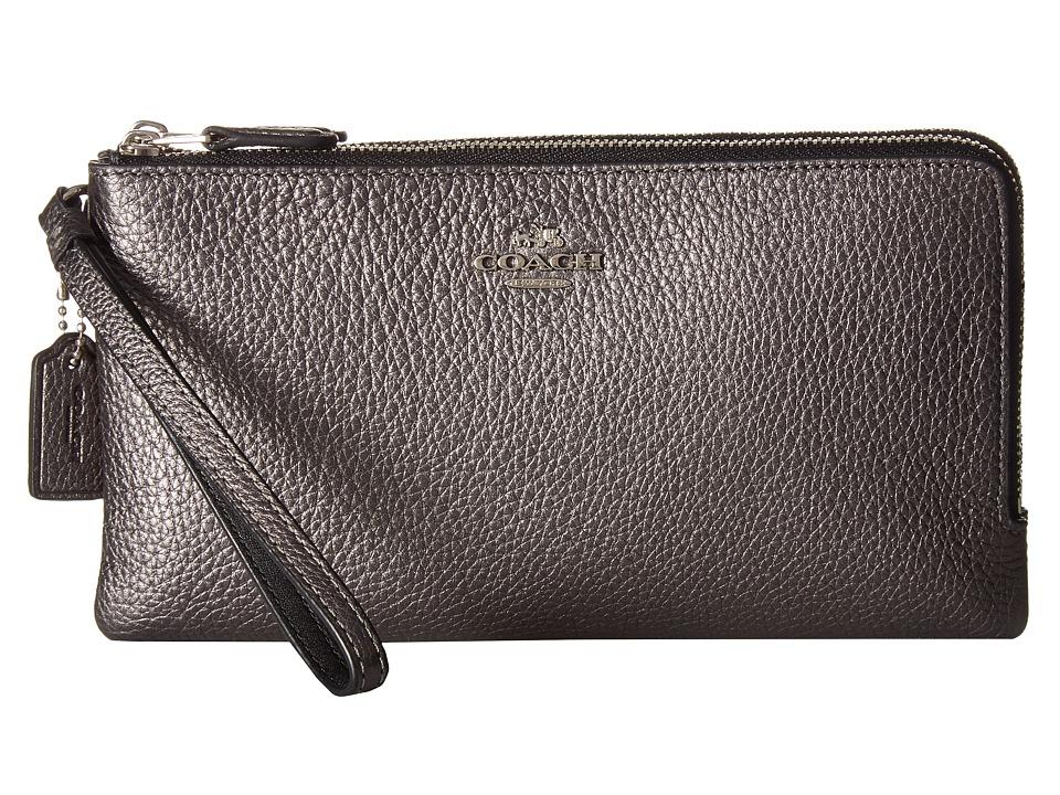 COACH - Double Zip Wallet in Metallic Leather (Sv/Metallic Graphite) Wallet Handbags