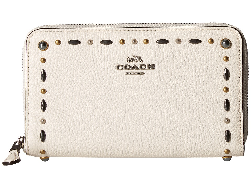 COACH - Medium Zip Around Wallet with Prairie Rivets (Lh/Chalk) Wallet Handbags