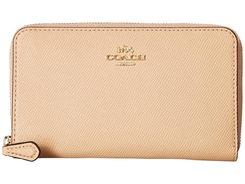 COACH - Medium Zip Around Wallet in Crossgrain Leather (LI/Beechwood) Wallet Handbags