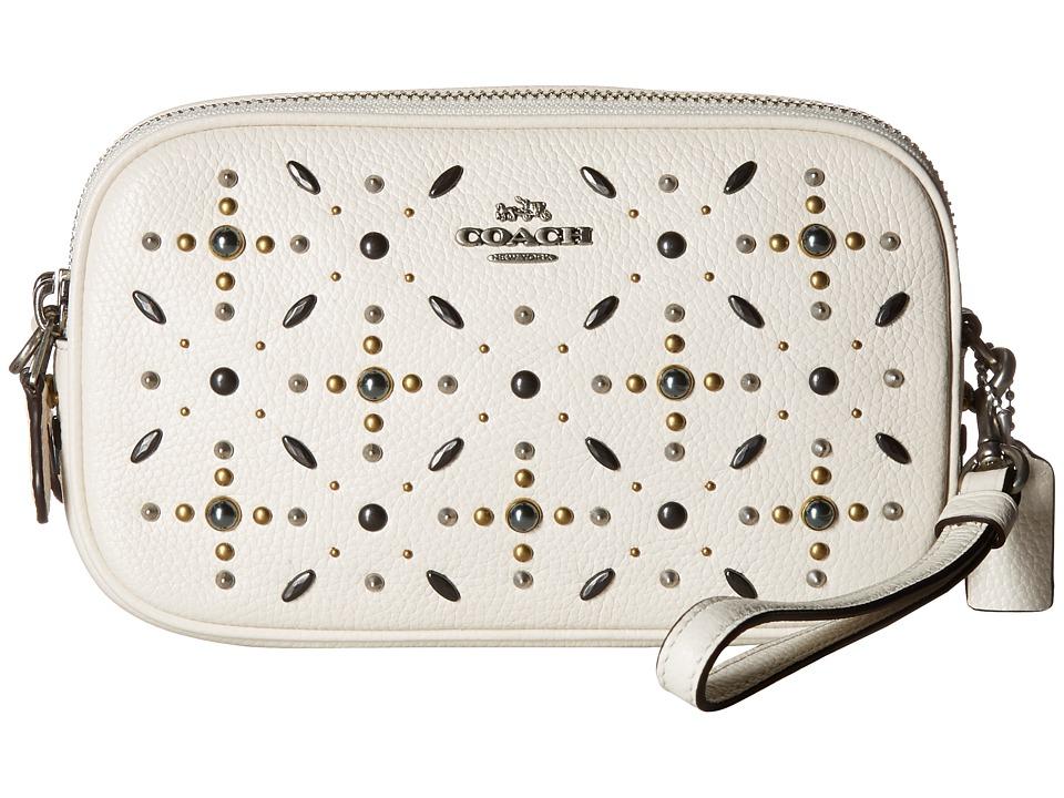 COACH - Crossbody Clutch with Prairie Rivets (Lh/Chalk) Cross Body Handbags