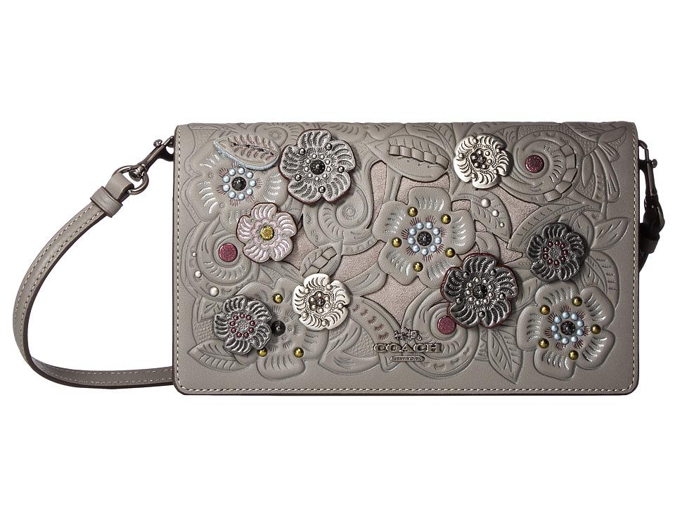 COACH - Foldover Crossbody Clutch With Metal Tea Rose Tooling (Dk/Heather Grey) Cross Body Handbags