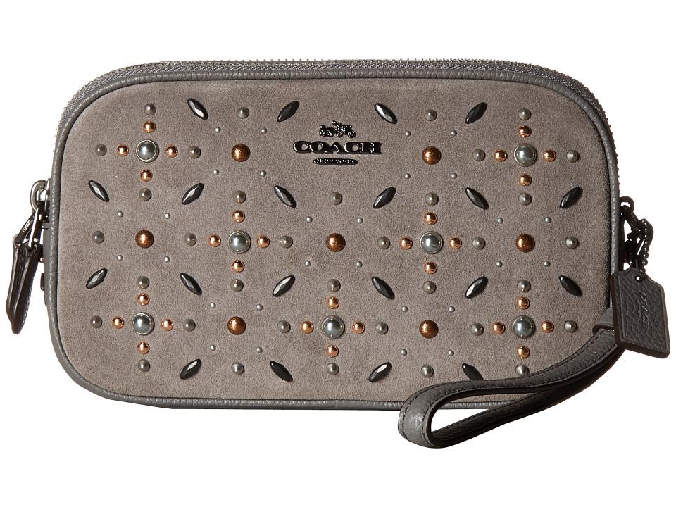 COACH - Crossbody Clutch in Suede Leather with Prairie Rivets (Dk/Heather Grey) Cross Body Handbags