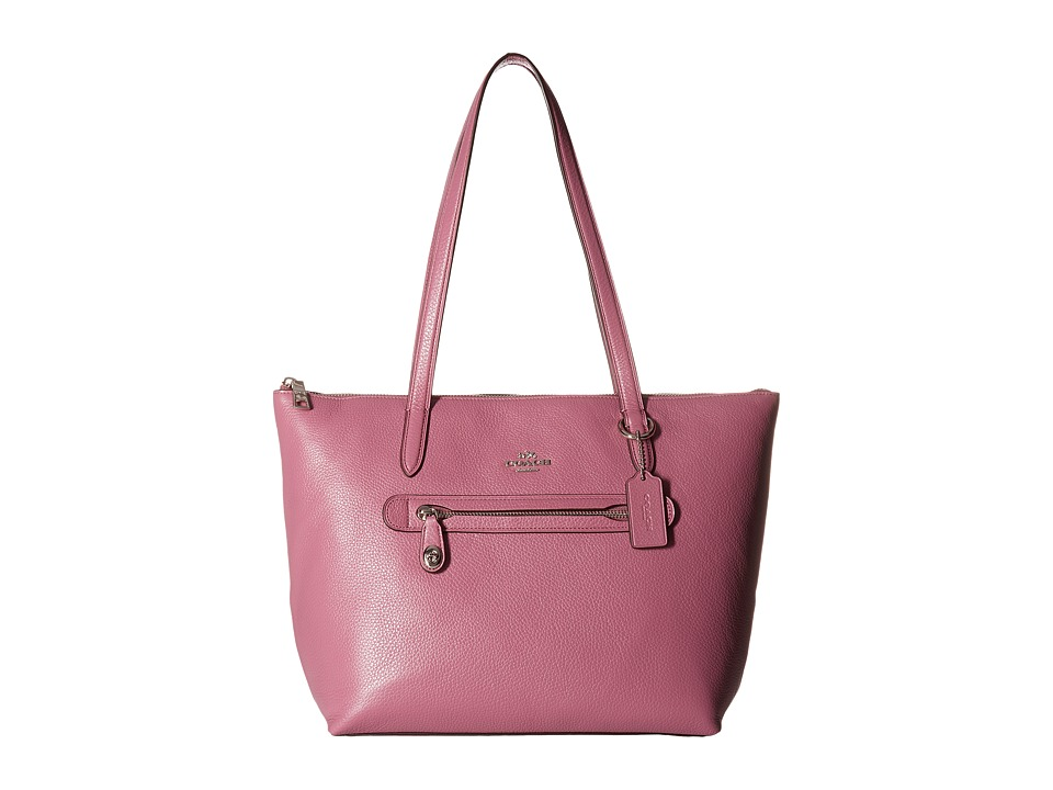 COACH - Taylor Tote in Pebbled Leather (Sv/Primrose) Tote Handbags