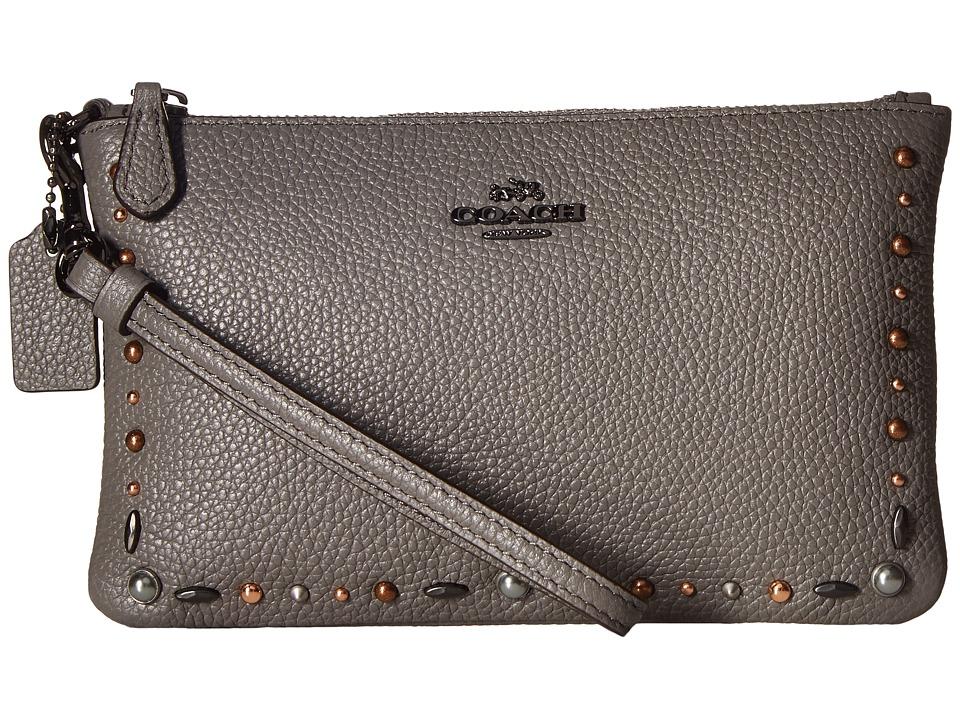 COACH - Small Wristlet with Prairie Rivets Detail (Dk/Heather Grey) Wristlet Handbags