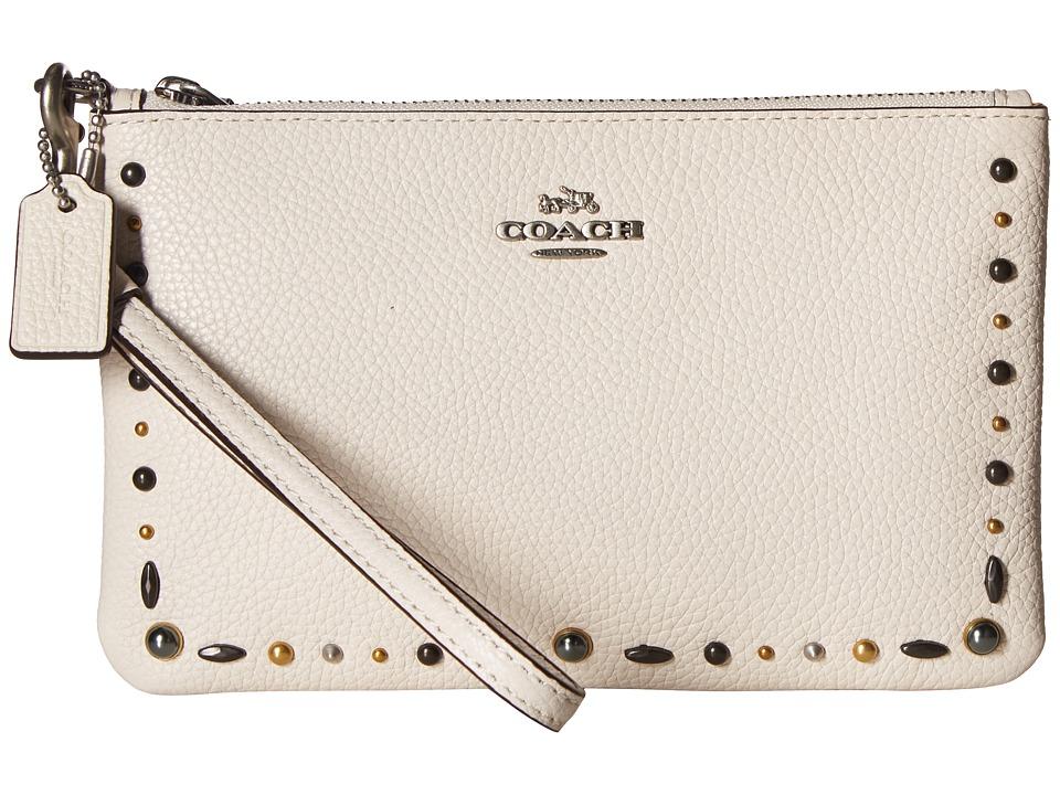 COACH - Small Wristlet with Prairie Rivets Detail (Lh/Chalk) Wristlet Handbags